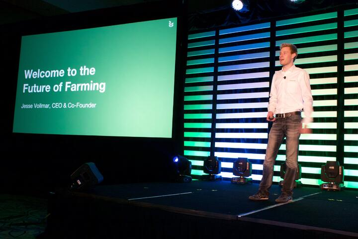 Jesse presenting at the first FarmLogs user conference