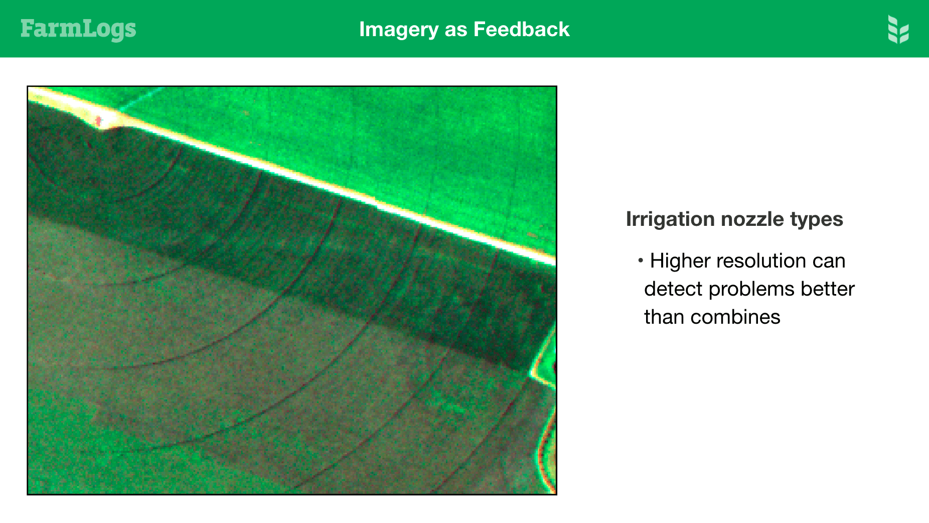 Imagery showing Irrigation problem
