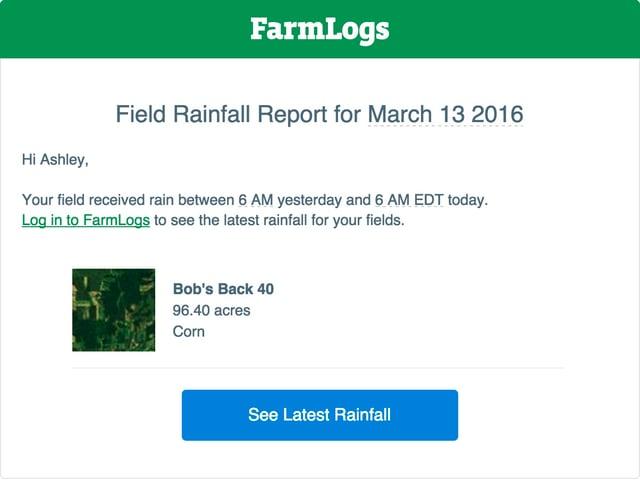Rainfall notification of FarmLogs