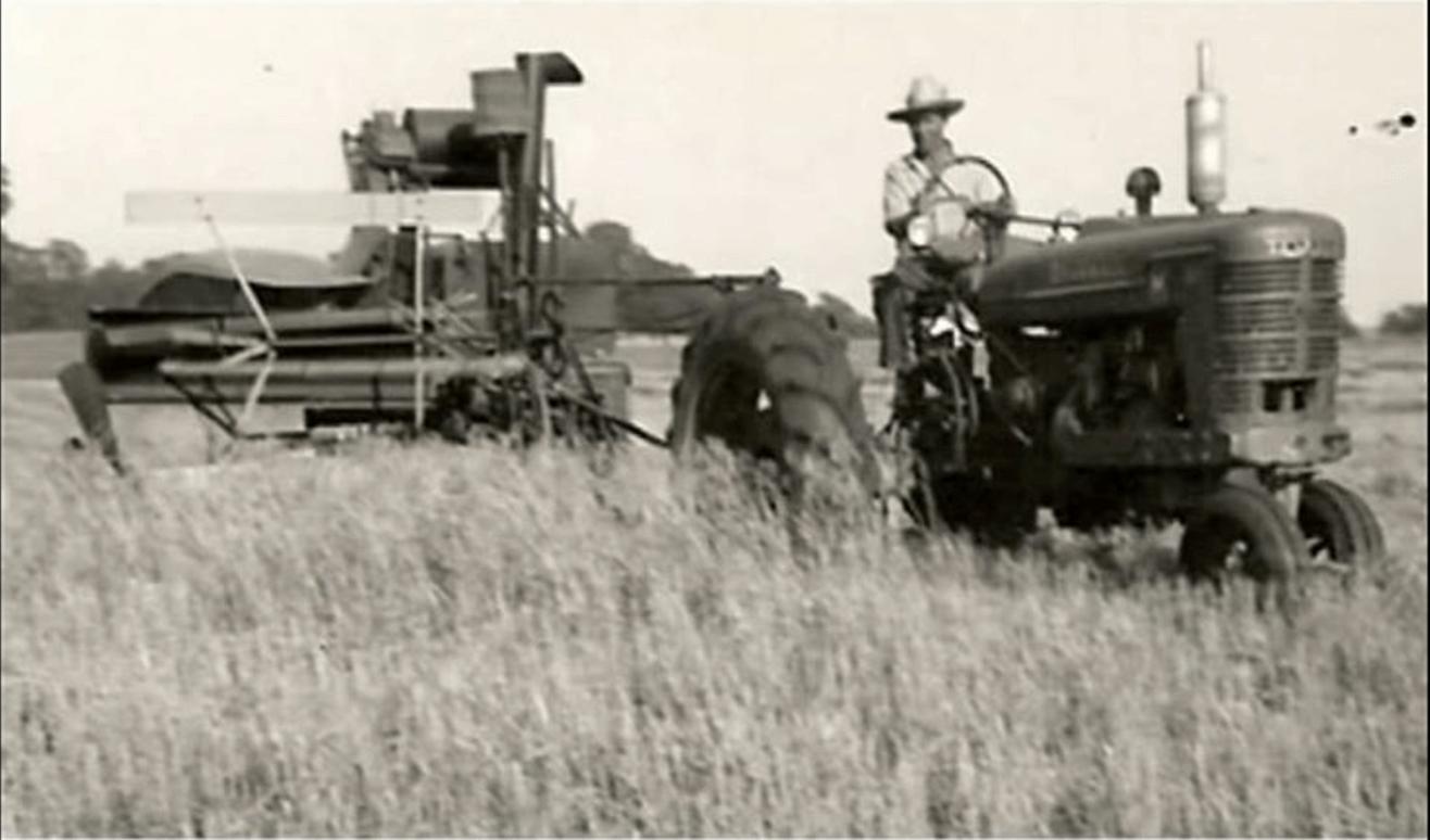 Historical photo of farmer harvesting