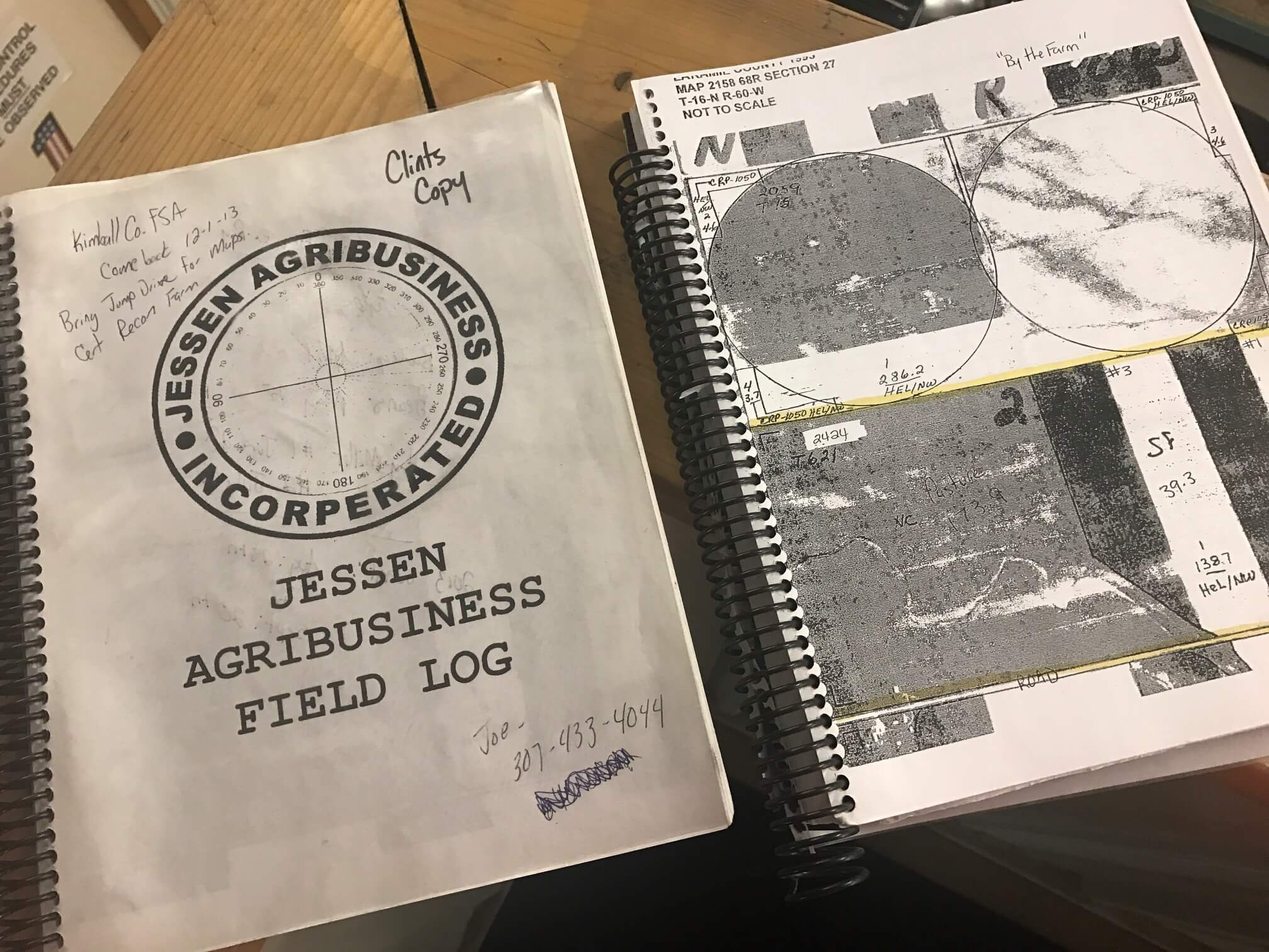 An old log book from the Jessen's farm