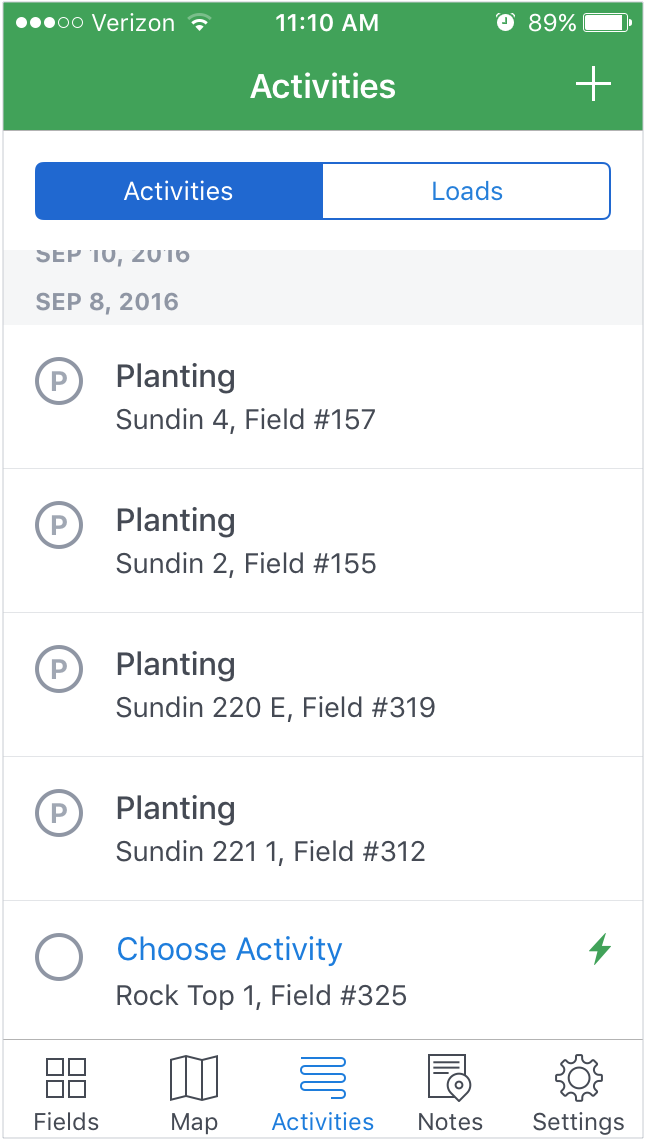 Activities logged in the Jessen's FarmLogs Account