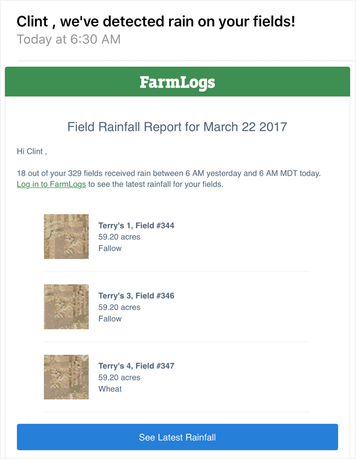 An email from FarmLogs alerting Clint of the recent rainfall on his fields