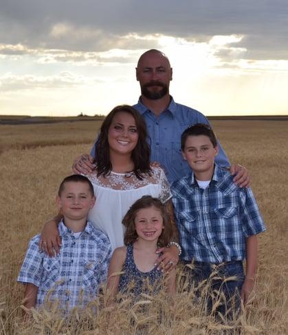 The Jessen family on their farm