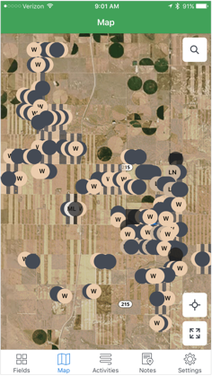 A mobile view of the mapping feature, showing some of the Jessen's fields