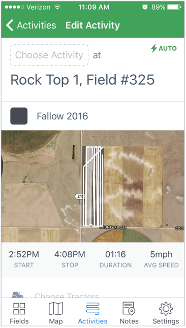 A mobile view of an AAR fieldpath recording logged in the Jessen's FarmLogs Account