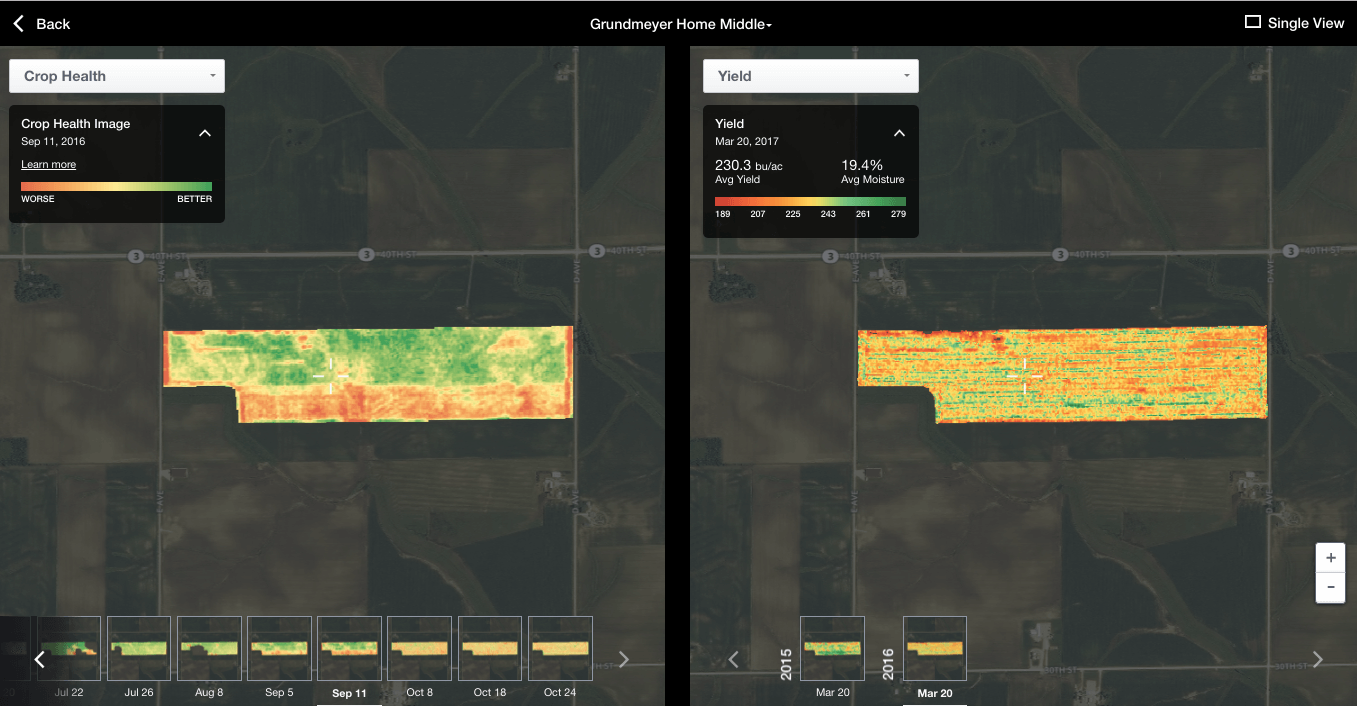 yield map in the Field Data Explorer