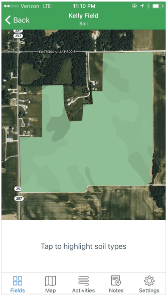 Soil Maps in Ethan's FarmLogs Account