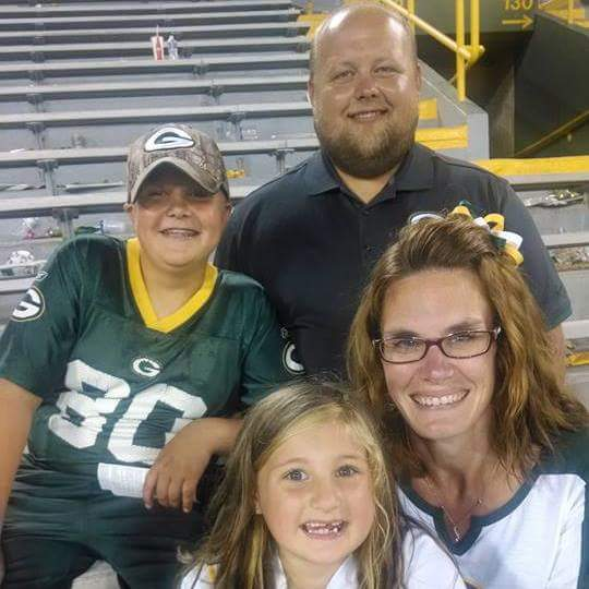 My family at a Green Bay Packers football game