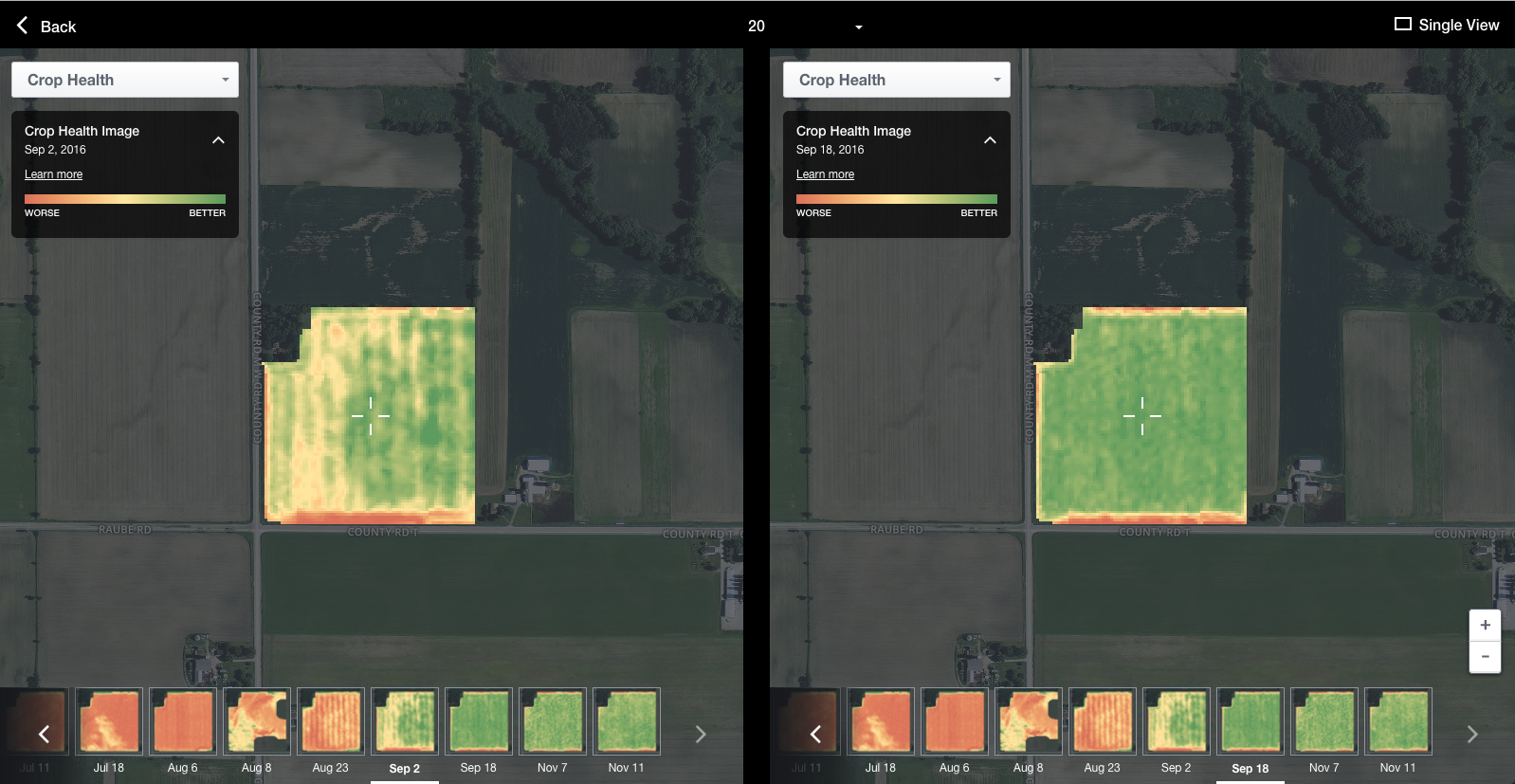 Crop Health Imagery of one of our fields