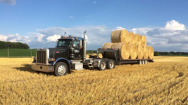 Hauling hay on Field Farms