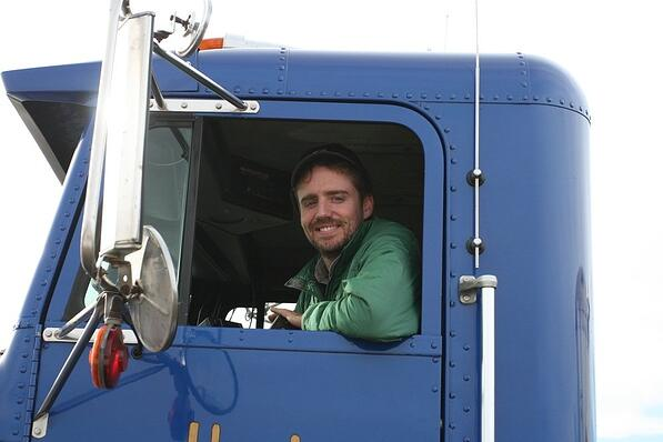 That's me, driving one of our semis