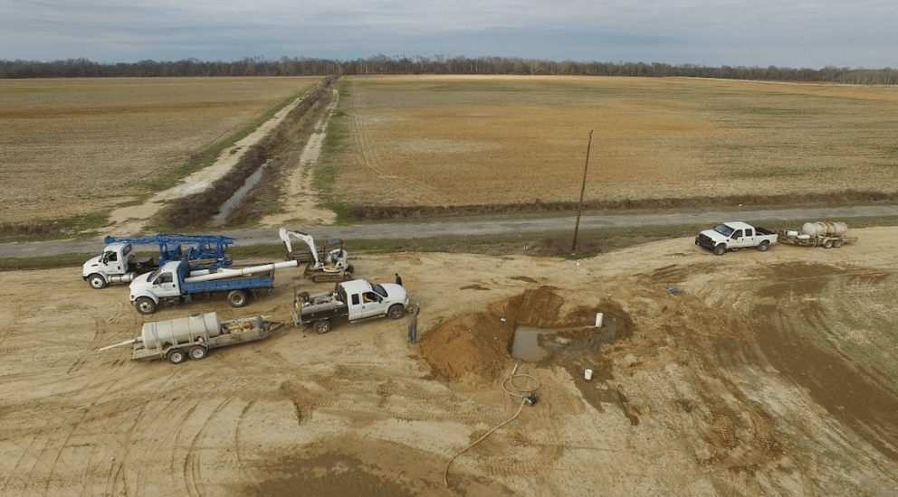 A new water well being installed on Walker's farm