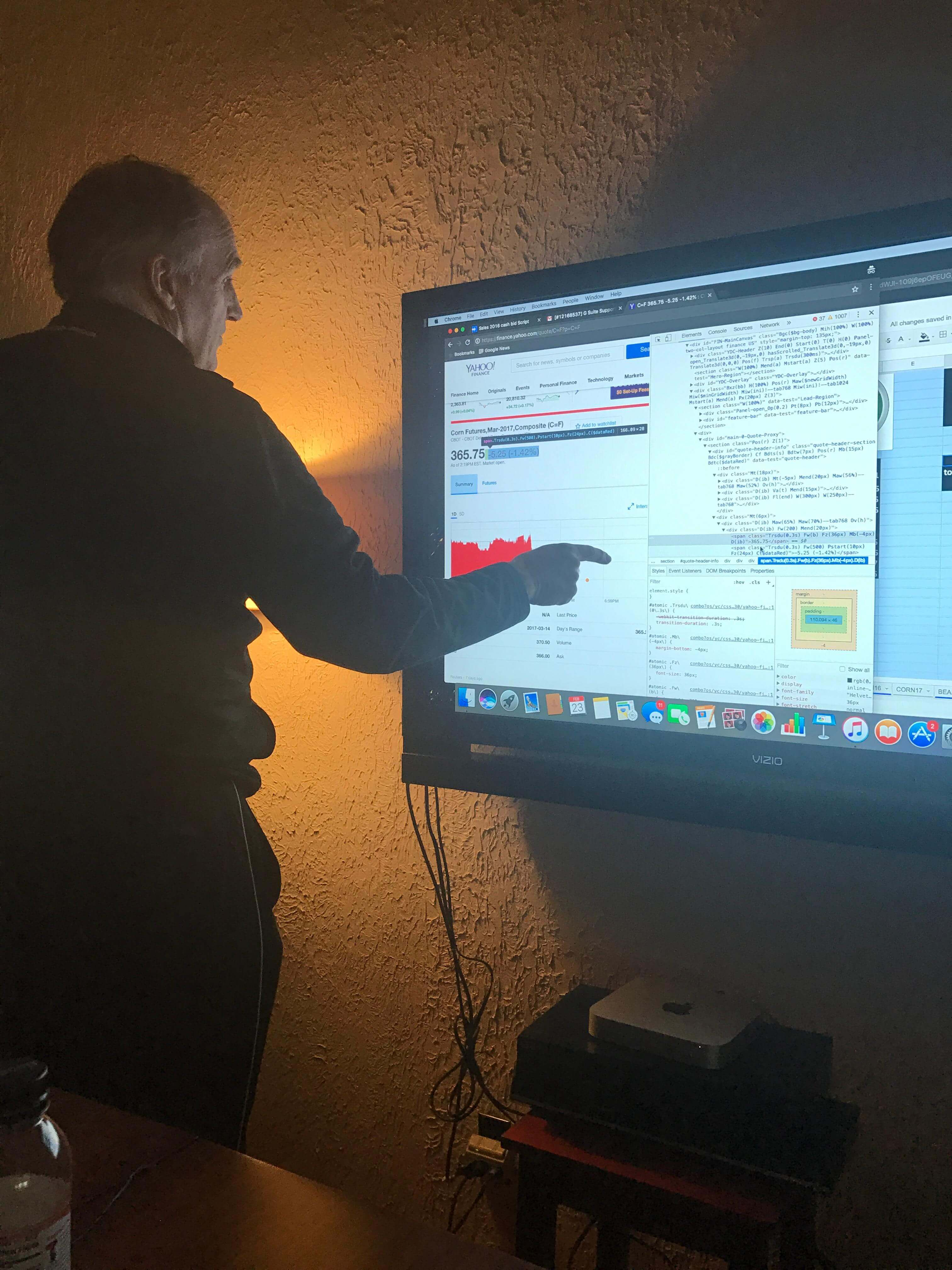 My dad, Randy (Whilden V), looking at the KPI dashboard we built