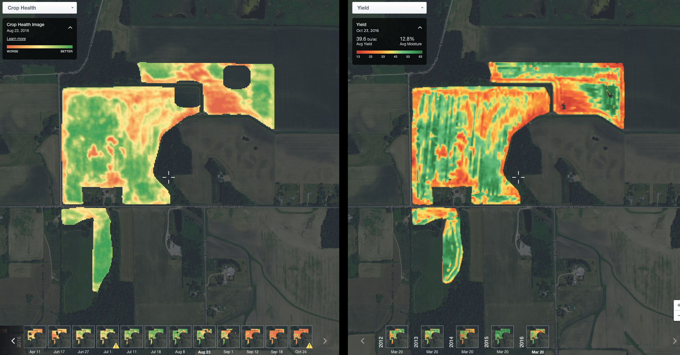 Crop Health Image (left) and yield map (right) for our soybean field that got SDS
