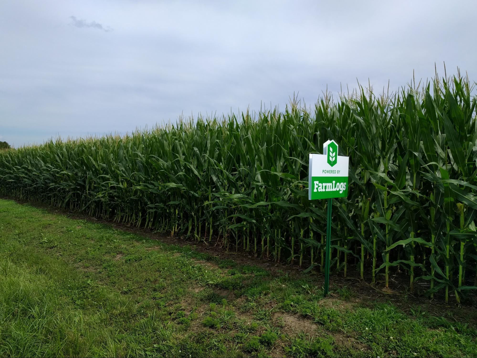 corn field with FarmLogs sign