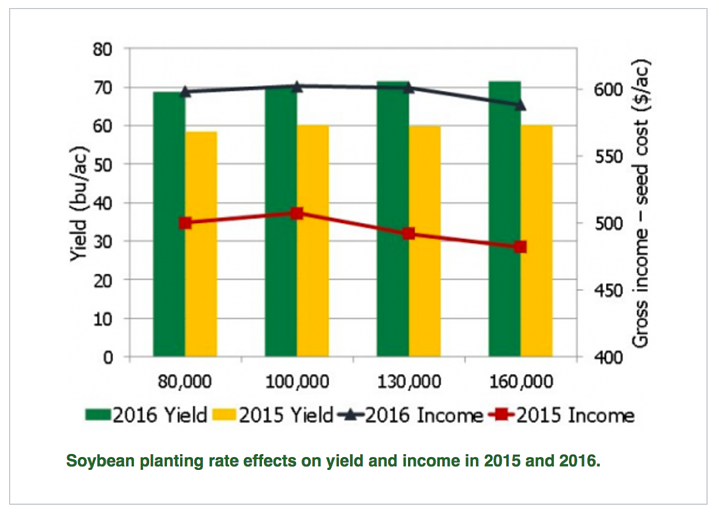 soybean planting rates affect on yield