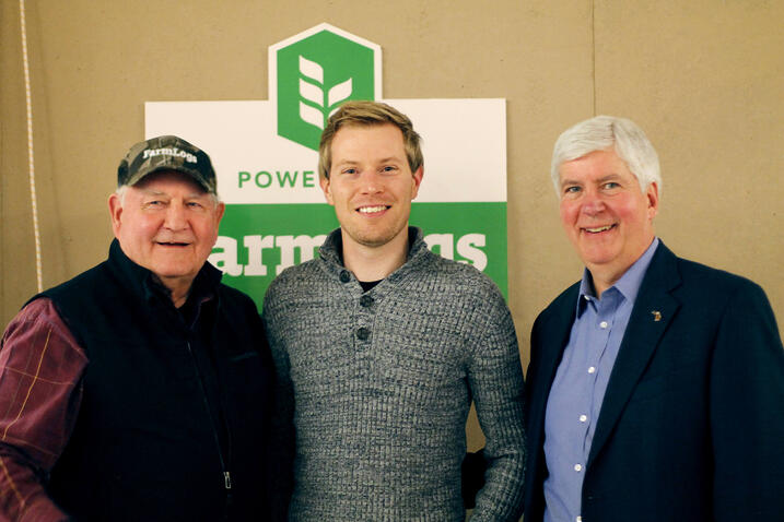 Secretary of Agriculture Sonny Perdue, Co-Founder & CEO of FarmLogs Jesse Vollmar, and Michigan Governor Rick Synder