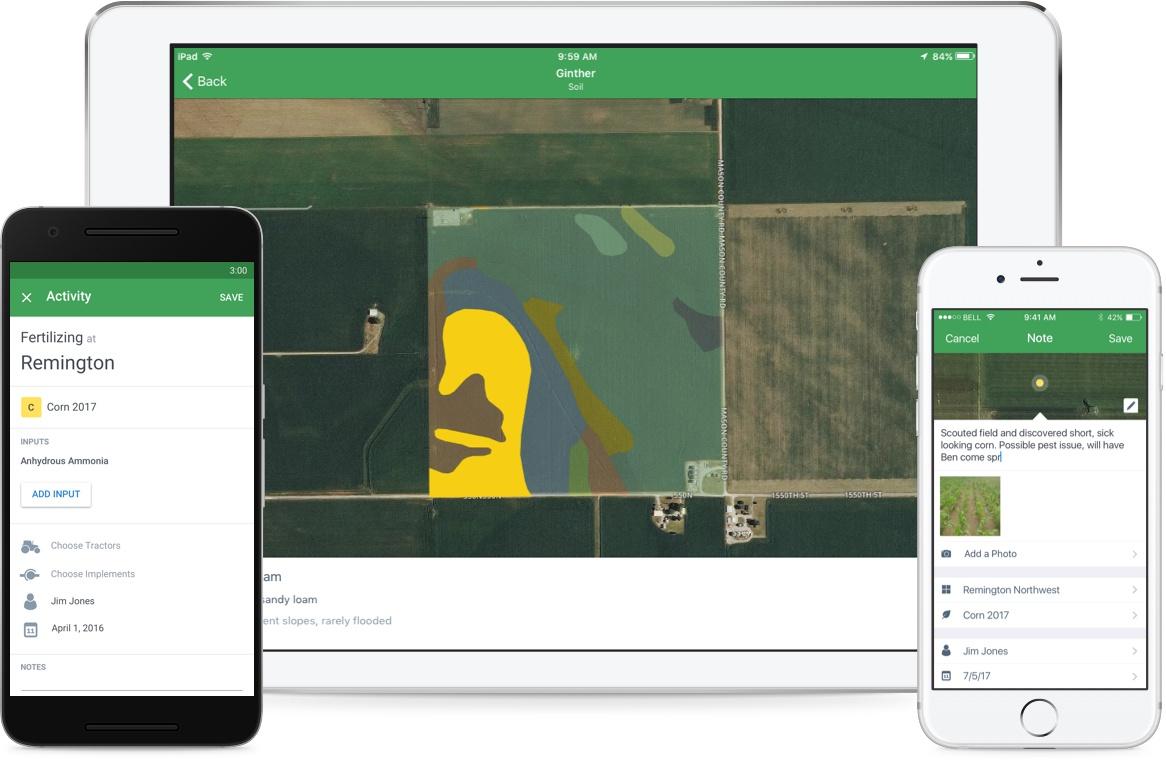 FarmLogs app on multiple devices